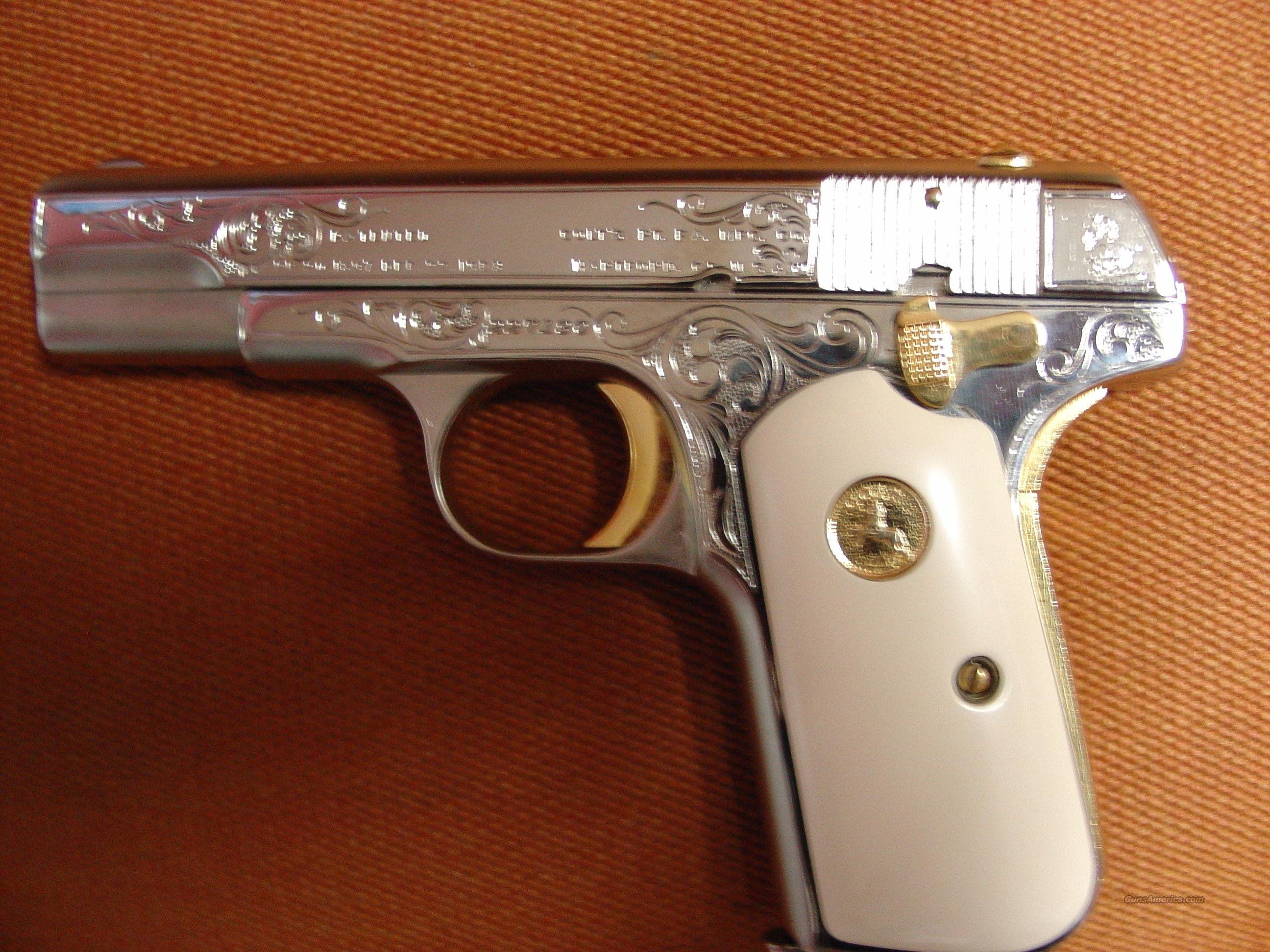Colt 1903,32 caliber,engraved,refinished,polished nickel,24K gold accents,bonded ivory grips,1916 !! 97 years old & awesome showpiece !!  Guns > Pistols > Colt Automatic Pistols (.25, .32, & .380 cal)