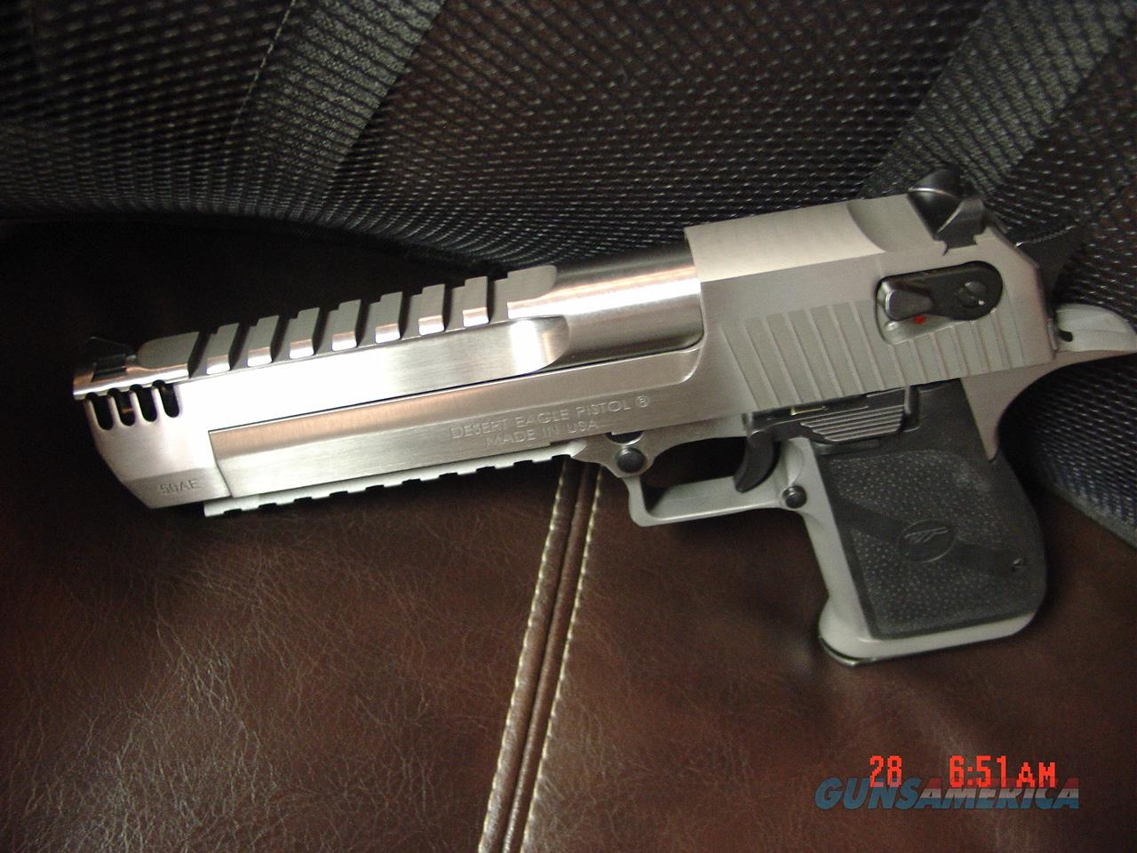 "Magnum Research Desert Eagle,all solid stainless with built in compensator,6"" 50 cal hand cannon-box,manual,papers built in rails,very rare model  Guns > Pistols > Magnum Research Pistols"