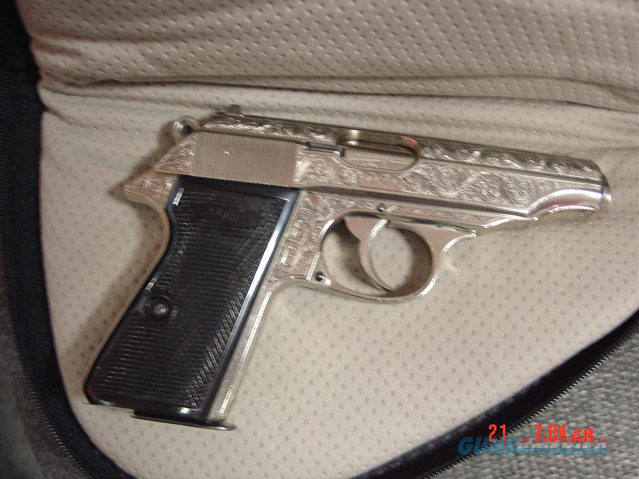 Walther PP 380 auto,nickel,fully deep scroll engraved,looks like new,black grips,soft zippered case,double action,circa 1960's  Guns > Pistols > Walther Pistols > Post WWII > PPK Series
