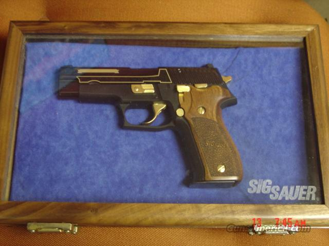 Sig-Sauer P226,25th Anniversary,9mm,1 of 226,engraved,gold inlay,etched glass wood pres case,gold accents,& wood grips,RARE !!  Guns > Pistols > Sig - Sauer/Sigarms Pistols > P226