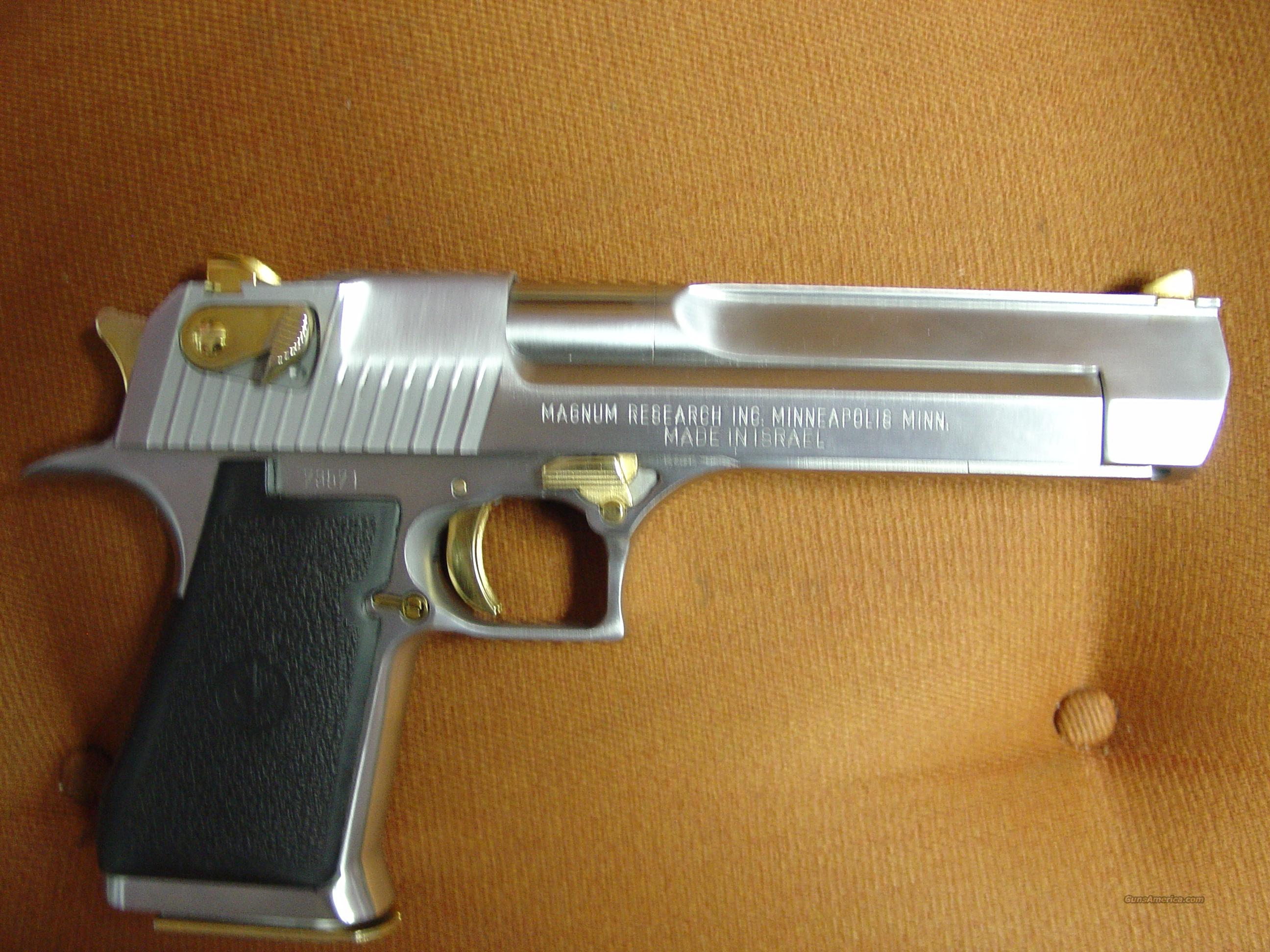 "Magnum Research IMI-44 magnum,6"" brushed satin stainless look,14 -24k gold accents,possible 1993,old box-super nice show piece hand cannon !!  Guns > Pistols > Desert Eagle/IMI Pistols > Desert Eagle"
