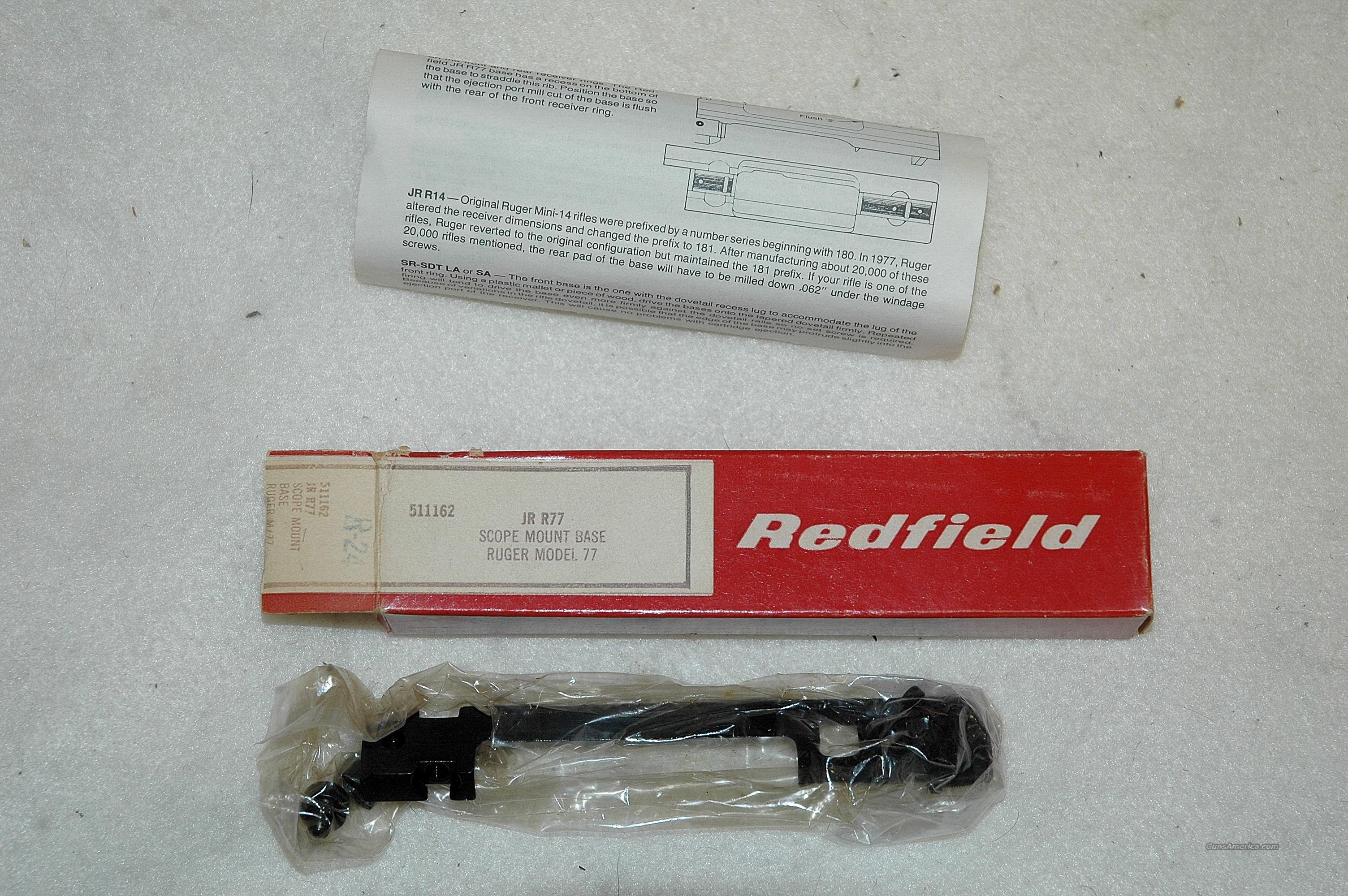 Redfield base for Ruger model 77  Non-Guns > Scopes/Mounts/Rings & Optics > Mounts > Other