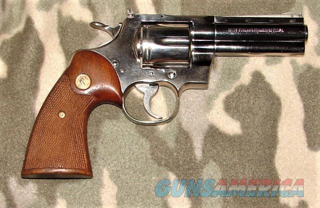 "Colt Python 4"" Nickel   Guns > Pistols > Colt Double Action Revolvers- Modern"