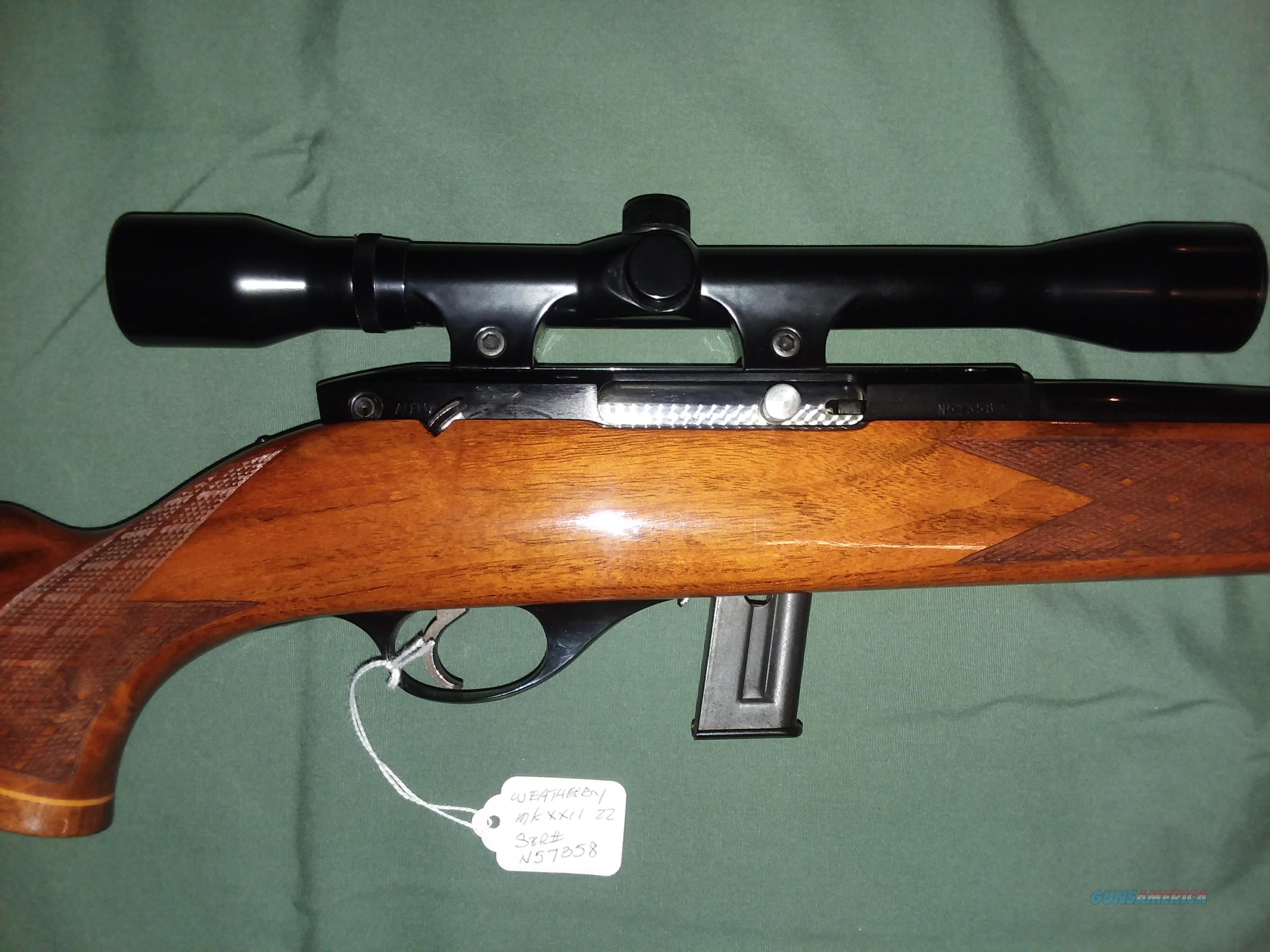 Weatherby Mark XXII 22LR Clip w scope, Mint as new!  Guns > Rifles > Weatherby Rifles > Sporting