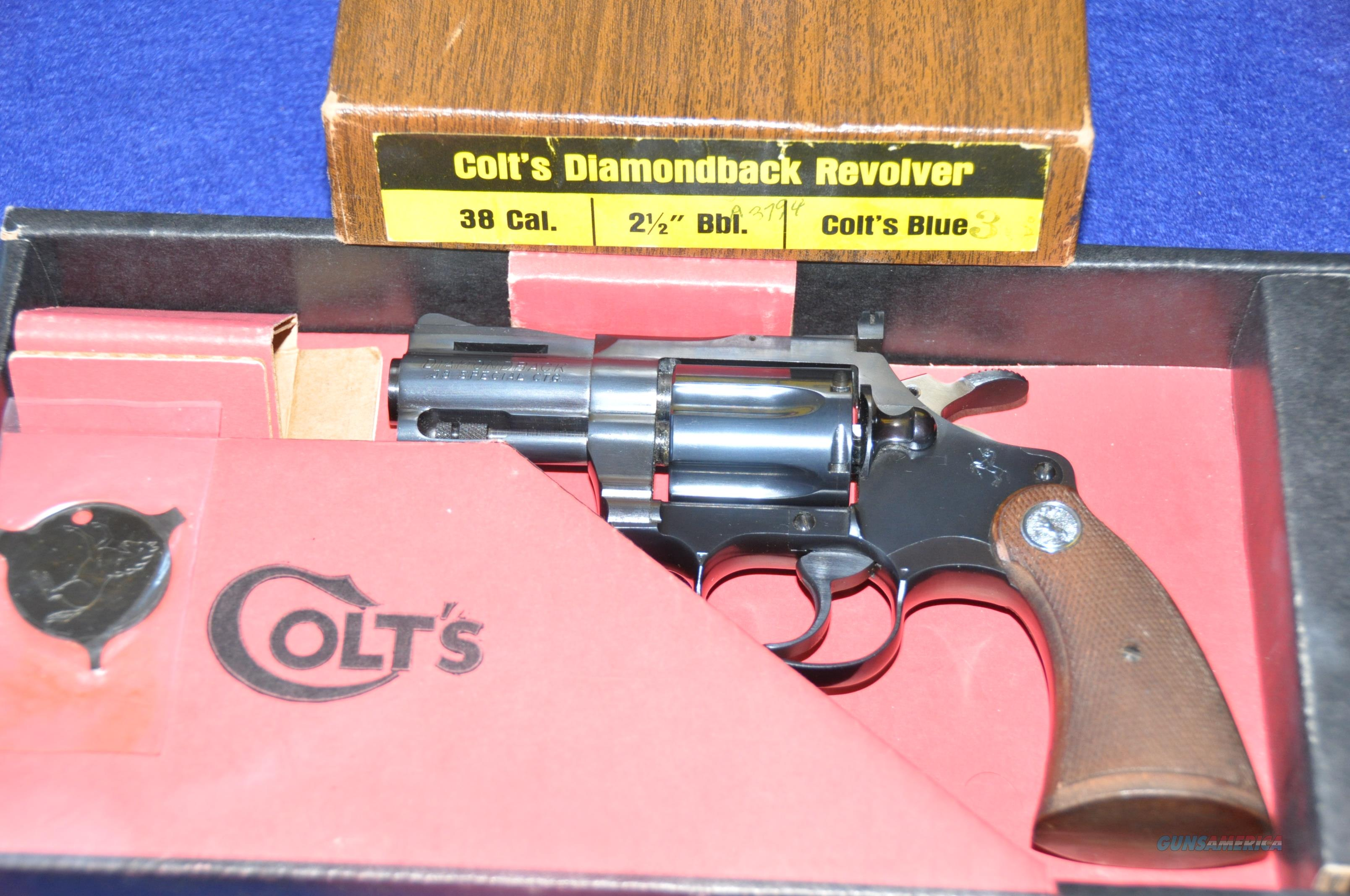 "COLT Diamondback 38Spl 2-1/2"" blue as new in orig fact box  Guns > Pistols > Colt Double Action Revolvers- Modern"
