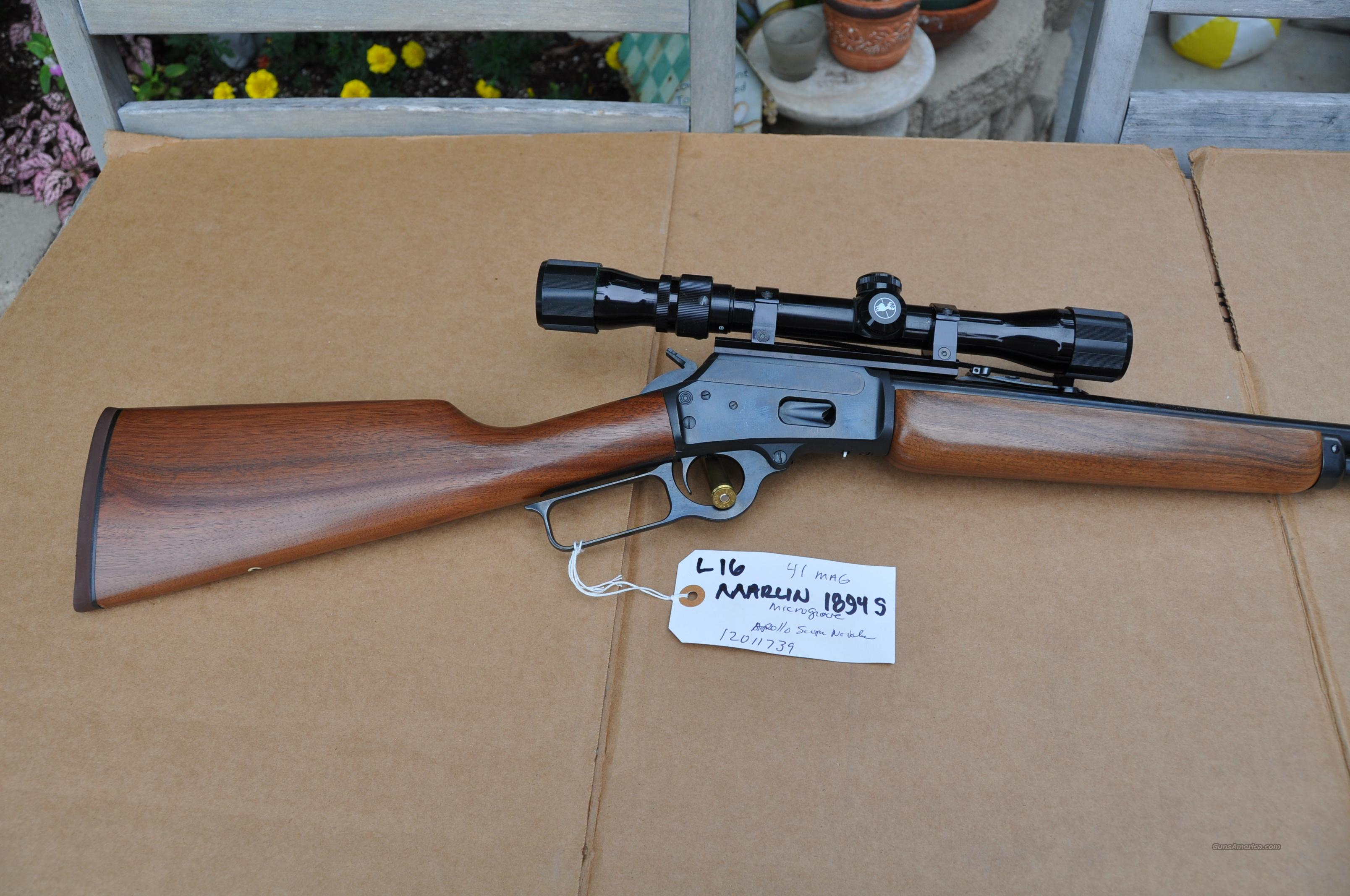 Marlin 1894S 41 Magnum in excellent condition with scope  estate sale  Guns > Rifles > Marlin Rifles > Modern > Lever Action