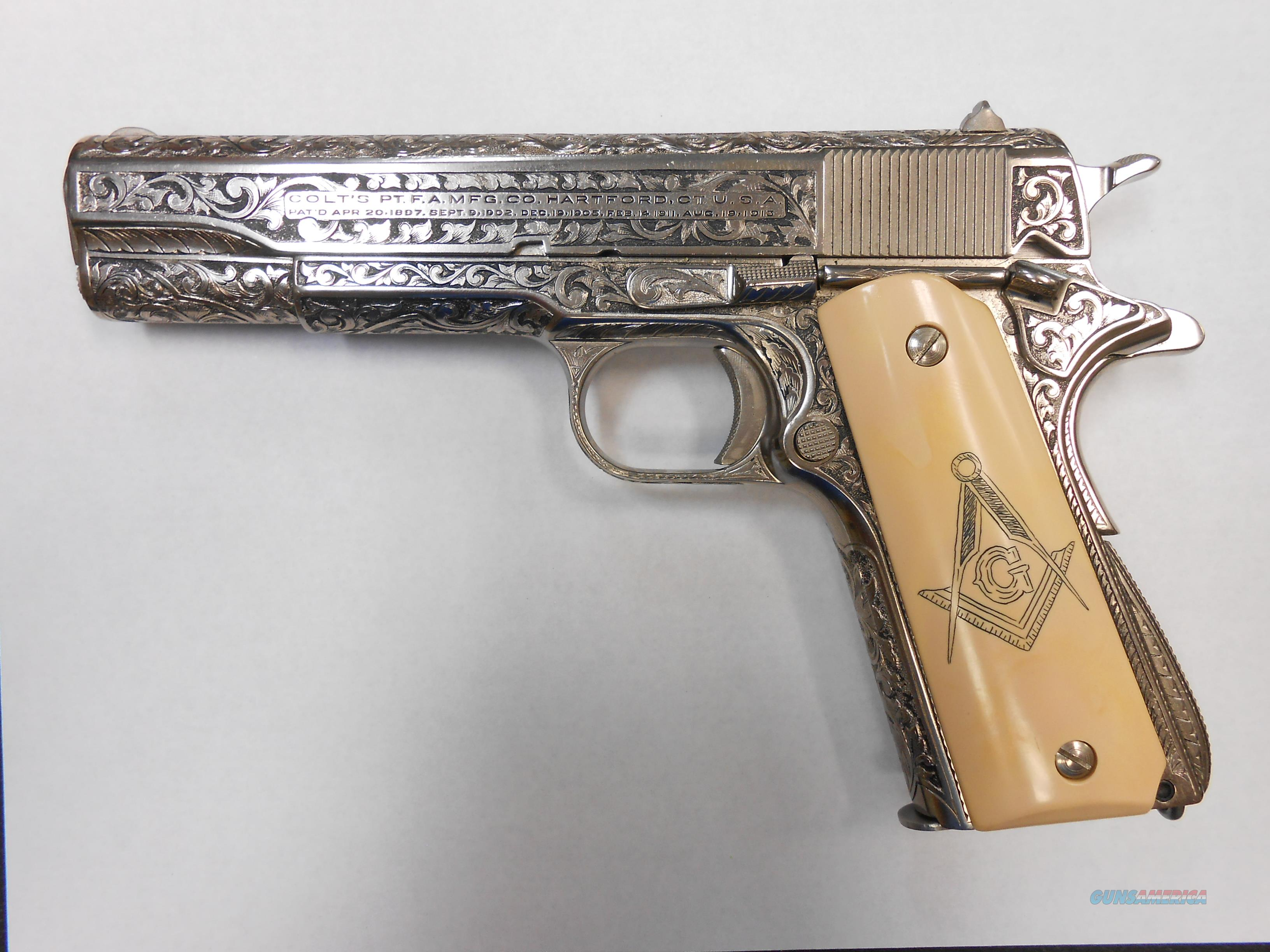 1940's Colt 1911 Hand engraved with Square and Compass grips  Guns > Pistols > Colt Automatic Pistols (1911 & Var)
