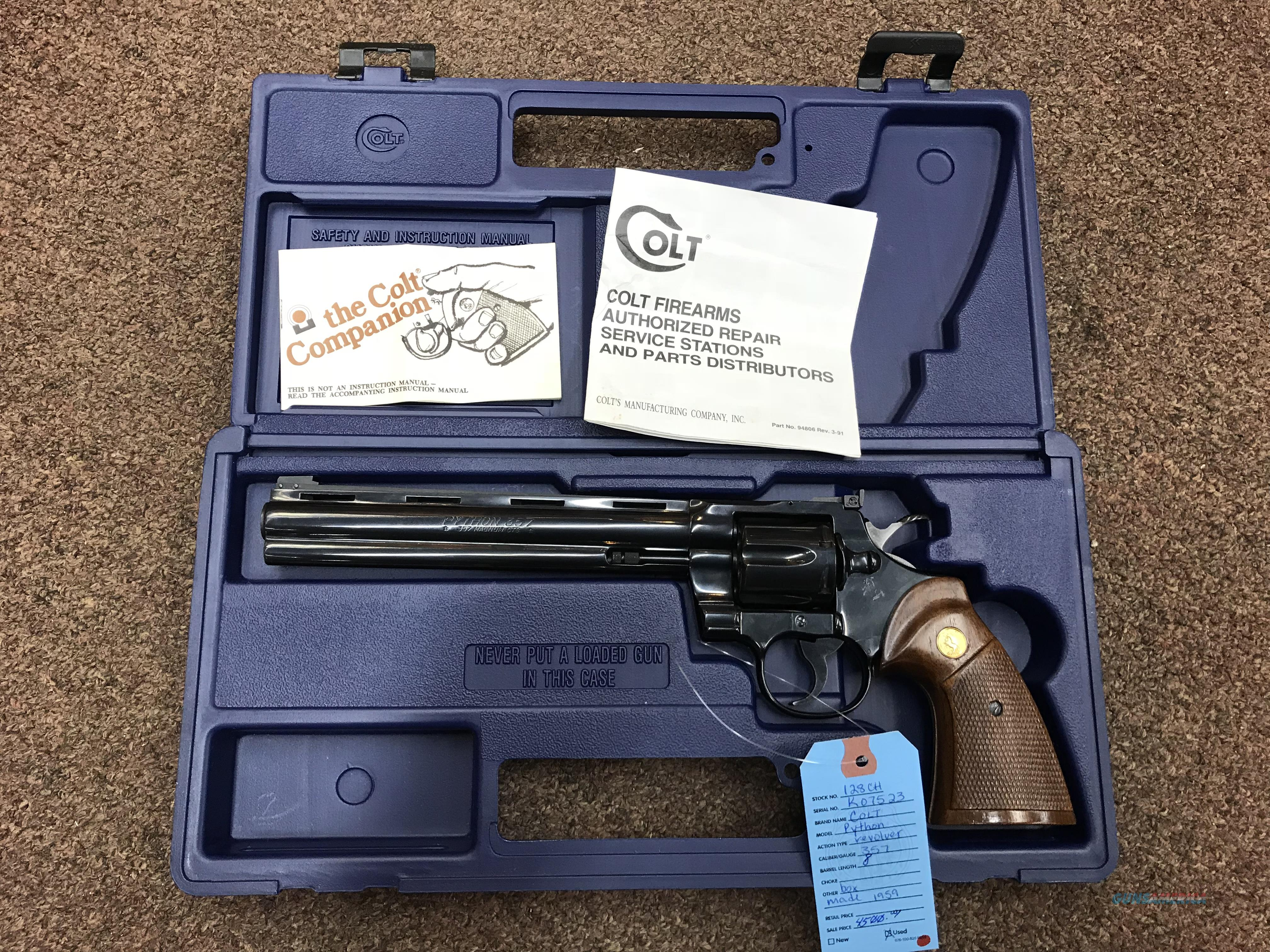 "COLT PYTHON 8"" BARREL!!!! PRICE REDUCED FROM $4500!  Guns > Pistols > Colt Double Action Revolvers- Modern"