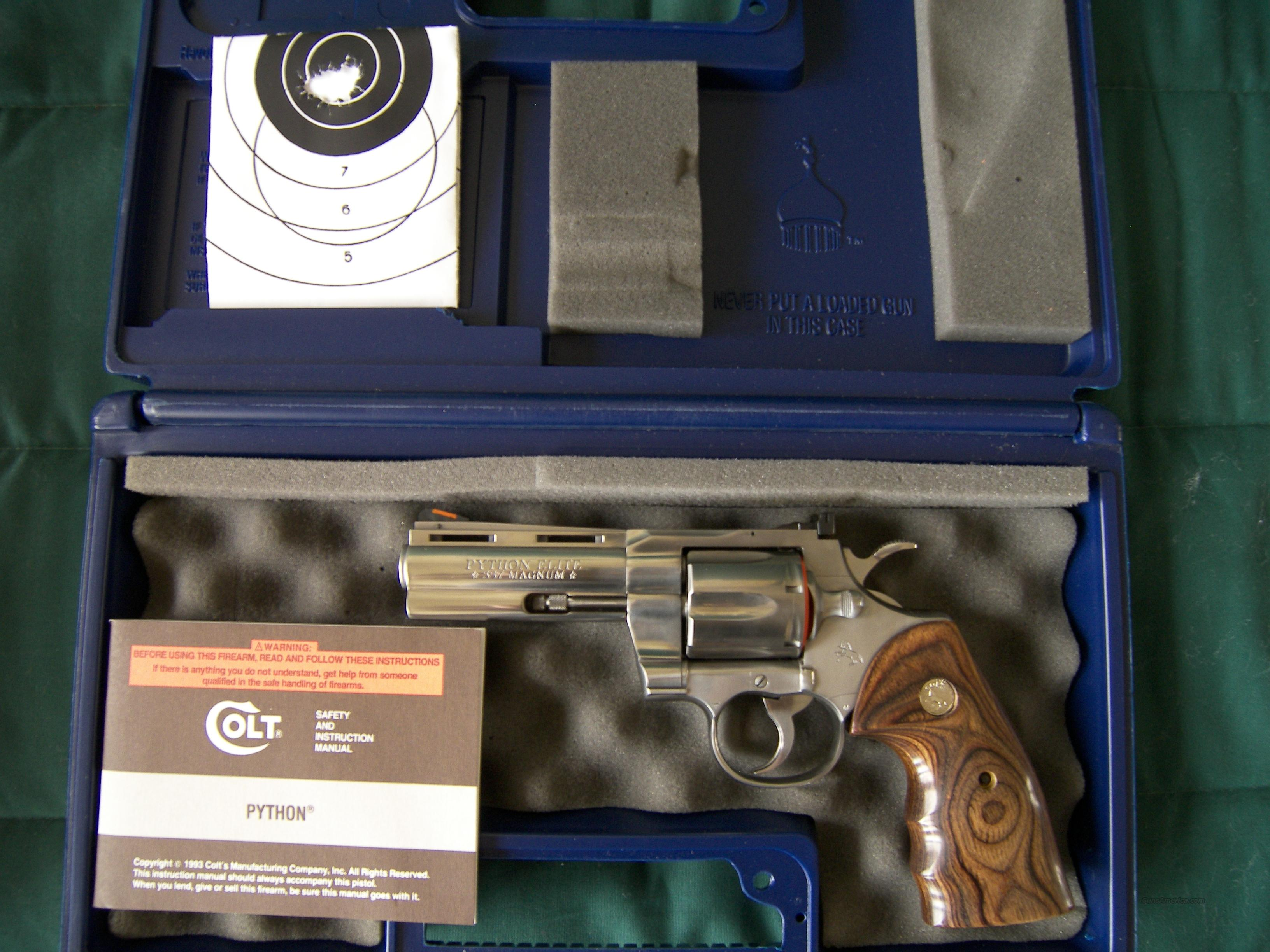 "Colt Python Elite 4"" Barrel  Guns > Pistols > Colt Double Action Revolvers- Modern"