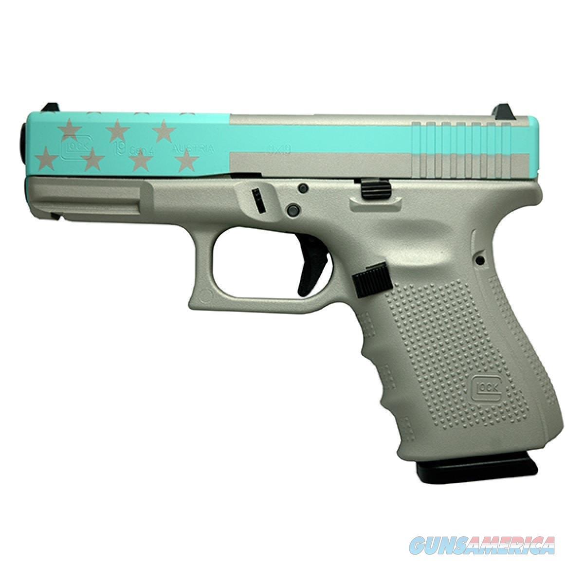 "Glock G19 Gen 4 9mm Silver/Blue Flag 4.02"" W260-99560   Guns > Pistols > Glock Pistols > 19/19X"