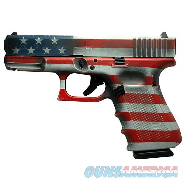 "Glock G19 GEN4 9mm American Flag RW&B 4"" PG1950203FLAG   Guns > Pistols > Glock Pistols > 19/19X"