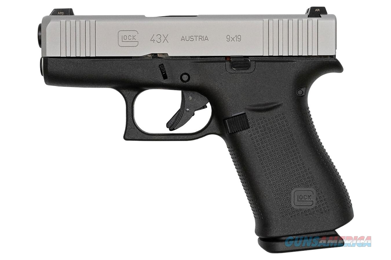 "Glock G43X 9mm Luger 3.41"" Black/Silver PX435SL701   Guns > Pistols > Glock Pistols > 43/43X"