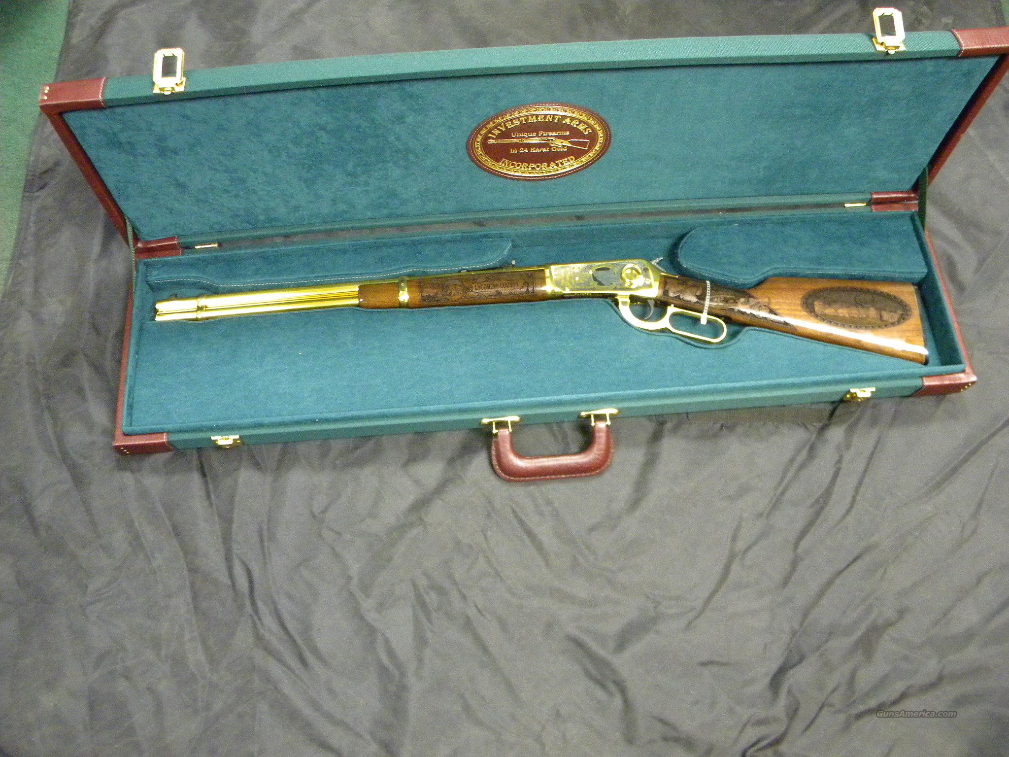 WINCHESTER MODEL 94 PENNSYLVANIA LYCOMING COUNTY 24 KARAT GOLD COMMEMORATIVE RIFLE #2 OF 10 MANUFACTURED  Guns > Rifles > Winchester Rifle Commemoratives