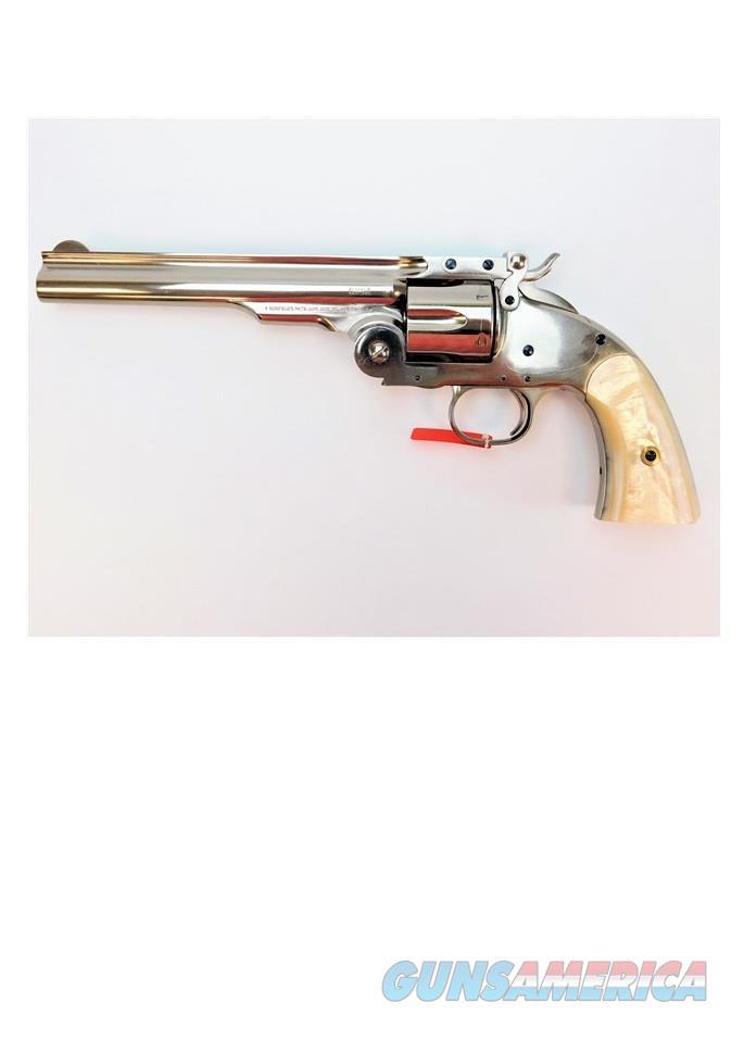 "Taylor's & Co. Schofield .38 SPL Nickel & Pearl 7"" REV0857N04G16  Guns > Pistols > Taylors & Co. Pistols > Ctg."