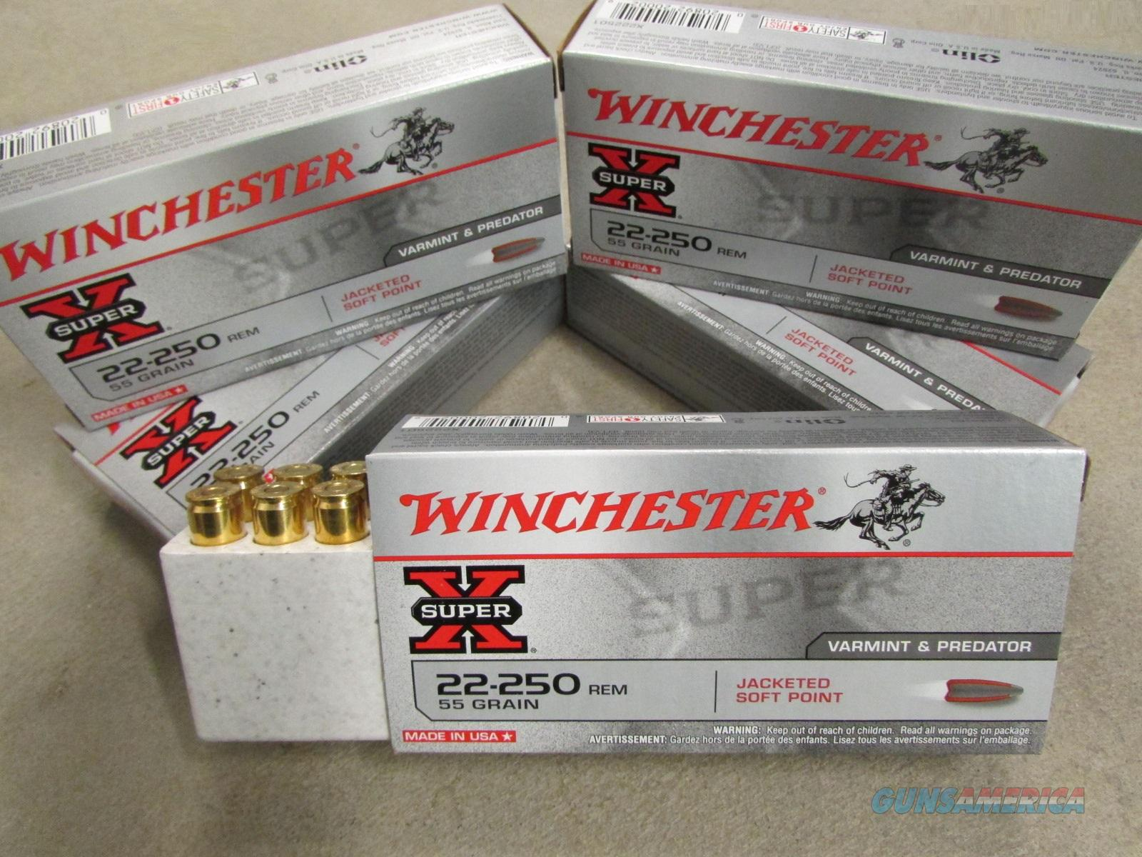 200 Rounds Winchester Super X 55 Gr PP .22-250 REM  Non-Guns > Ammunition
