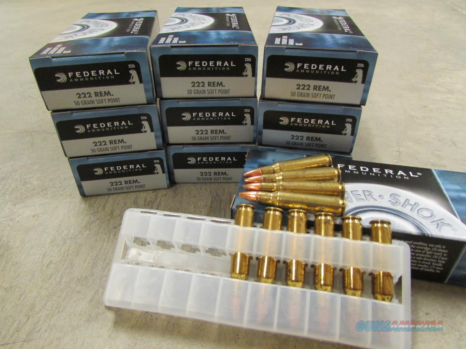 200 ROUNDS FEDERAL POWER-SHOK 50 GR .222 REM. 222A  Non-Guns > Ammunition