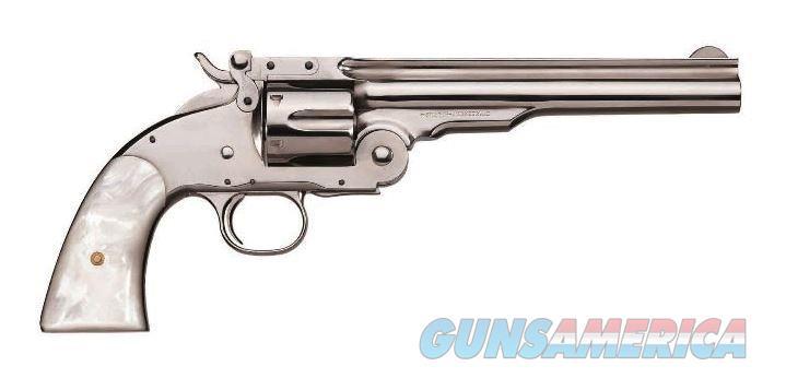 "Taylor's & Co. Schofield Nickel Pearl .45 Colt 7"" REV0850N04G16   Guns > Pistols > Taylors & Co. Pistols > Ctg."