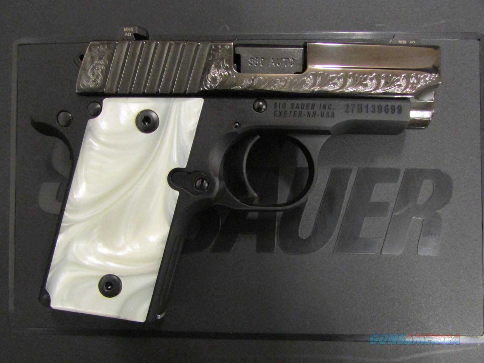 Sig Sauer P238 Pearl Black / Polish Stainless Engraved .380 ACP 238-380-ESW  Guns > Pistols > Sig - Sauer/Sigarms Pistols > P238