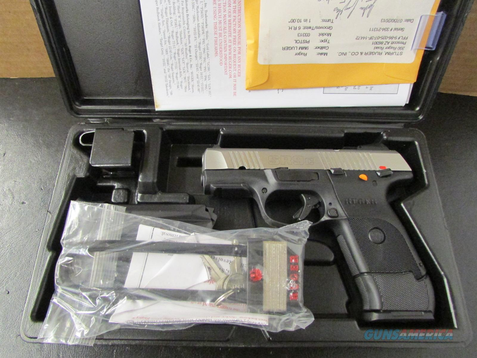 Ruger Stainless SR9c Compact 17 Round 9mm Luger/Para. 3313  Guns > Pistols > Ruger Semi-Auto Pistols > SR Family > SR9C