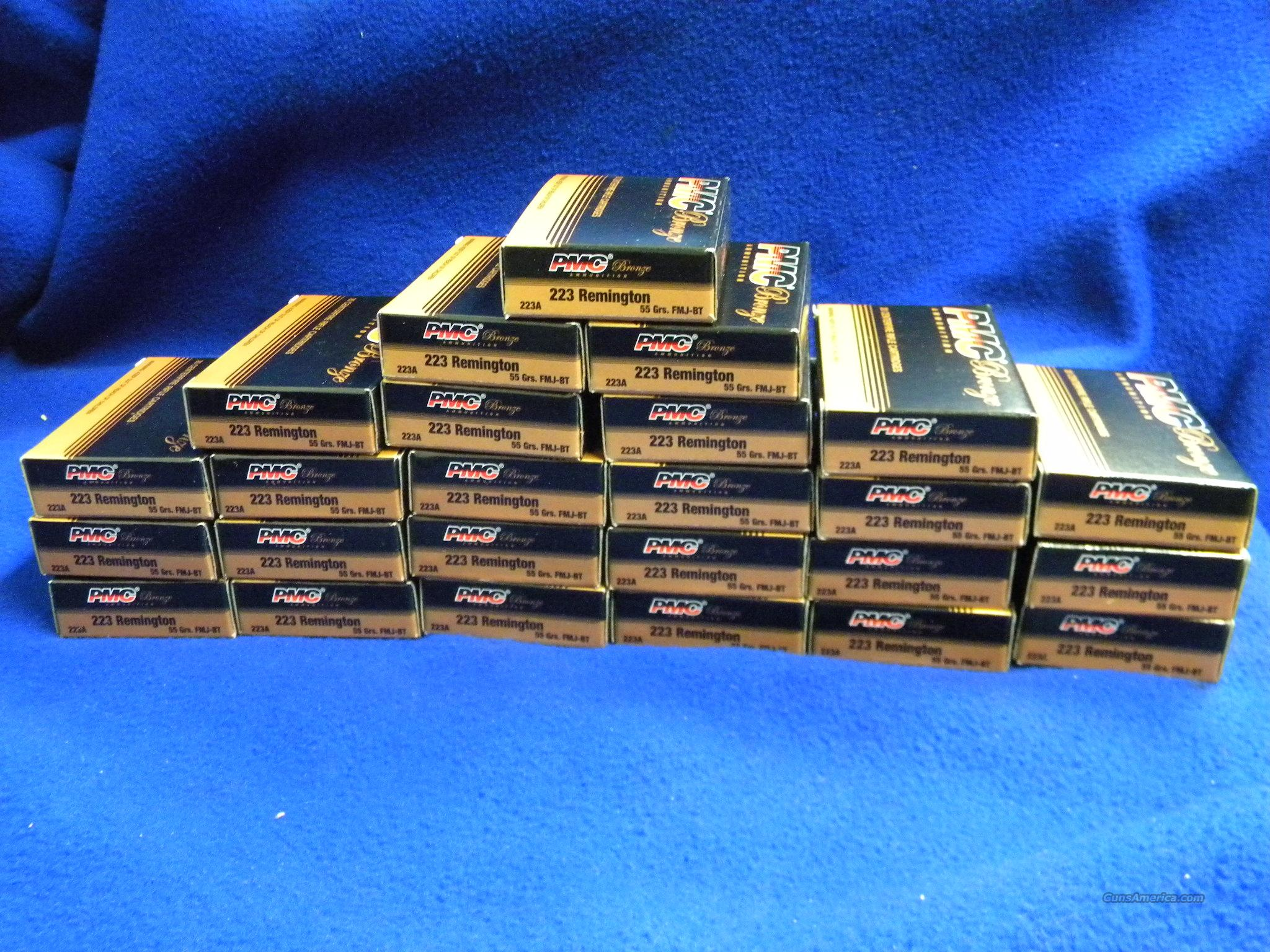500 Rounds PMC Bronze 223 FMJ Boat Tail 55 Gr Ammo #223A  Non-Guns > Ammunition