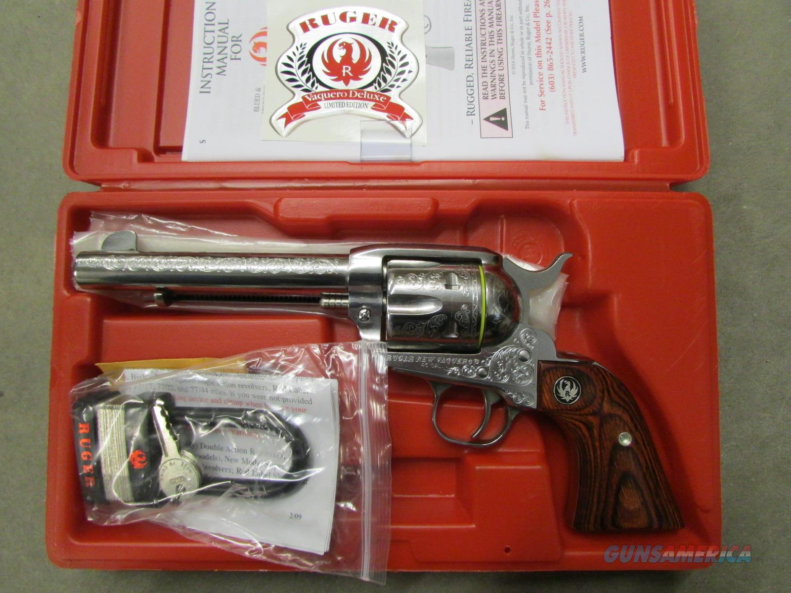 Engraved Ruger Vaquero Exclusive Single-Action .45 COLT 5157  Guns > Pistols > Ruger Single Action Revolvers > Cowboy Action