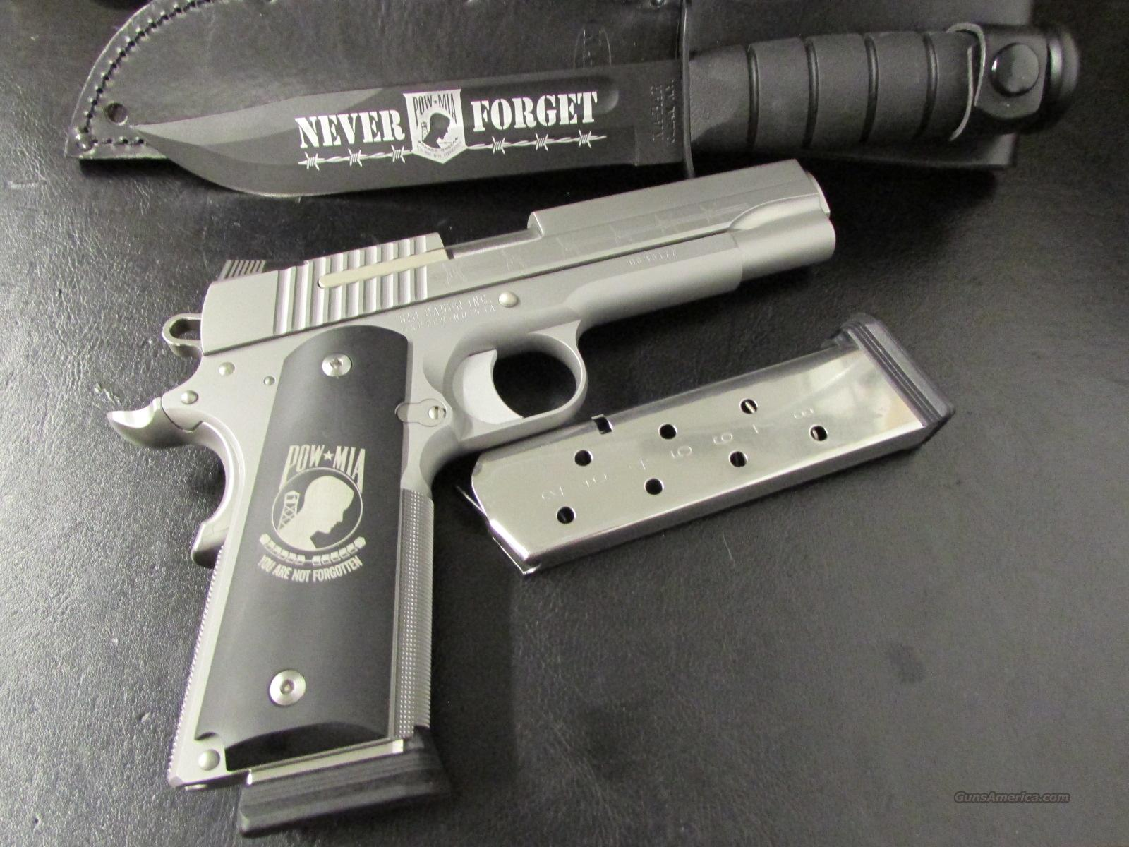 Sig Sauer Stainless 1911 POW-MIA .45 ACP with Knife & Storm Case  Guns > Pistols > Sig - Sauer/Sigarms Pistols > 1911