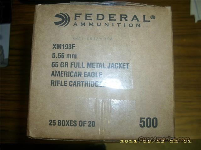 Federal 5.56 mm 55 Gr. MC Boat Tail 500 Rounds   Non-Guns > Ammunition