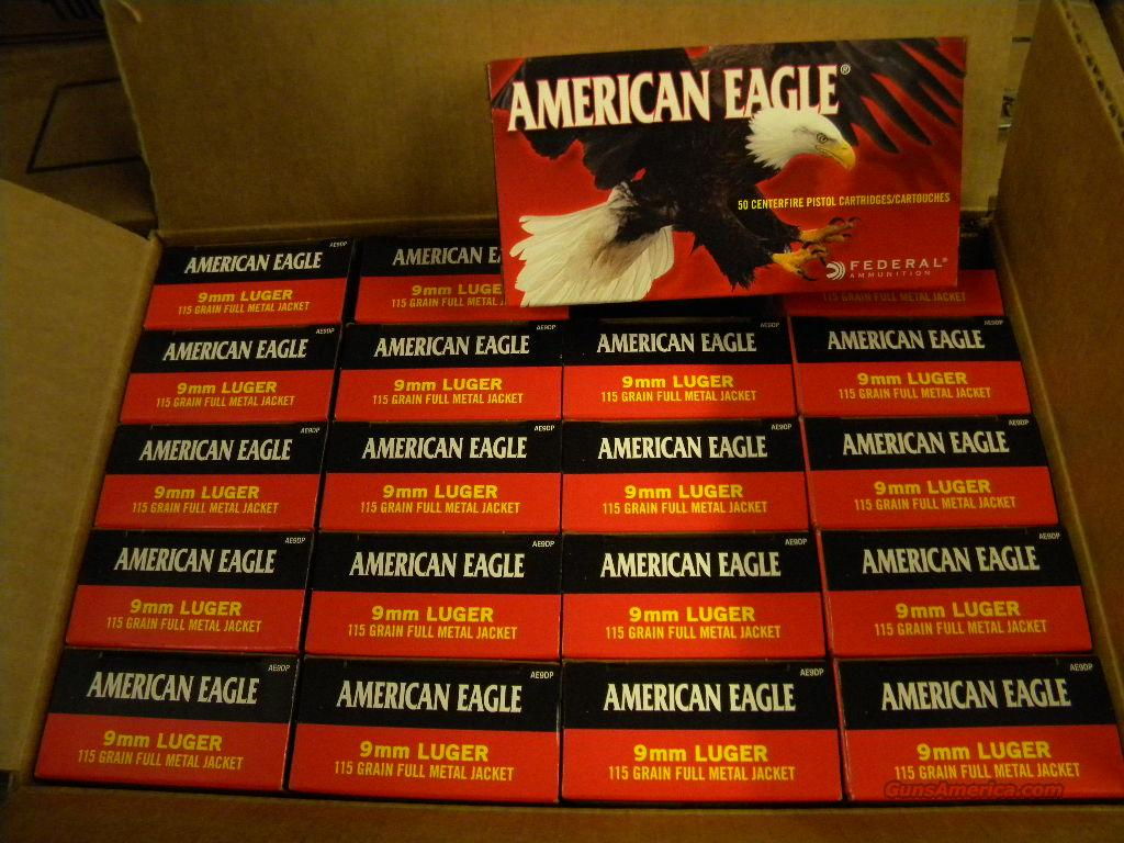 Federal American Eagle 9mm Luger 115Gr 1000 Rnds   Non-Guns > Ammunition