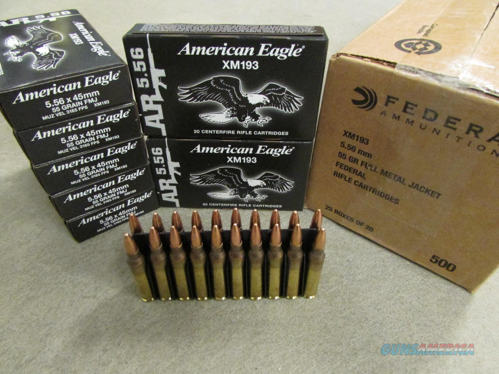 500 Rounds of Federal AE 55gr FMJ BT 5.56 NATO XM193  Non-Guns > Ammunition