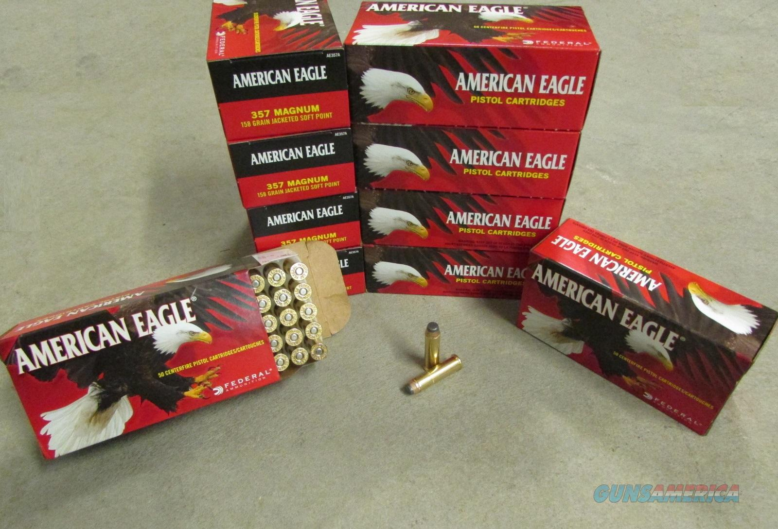 1000 Rounds Federal American Eagle .357 Magnum 158 GR JSP AE357A   Non-Guns > Ammunition