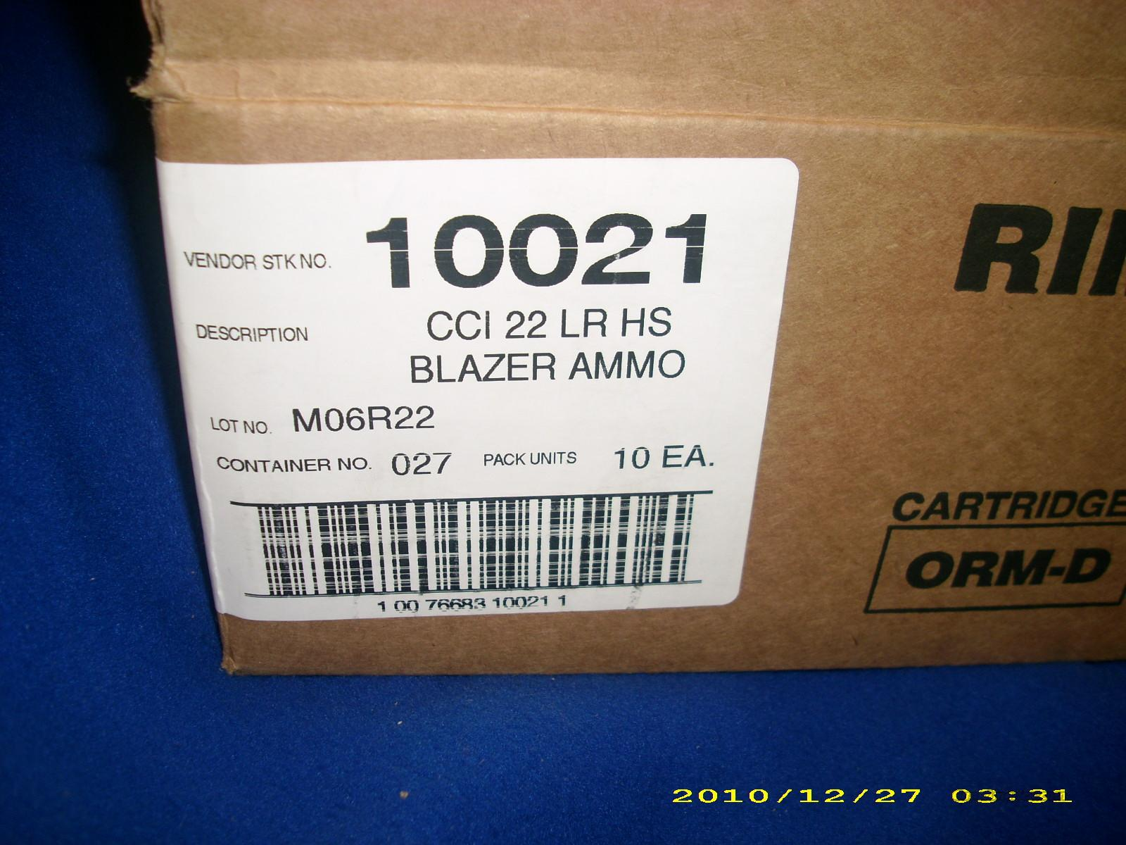 CCI Blazer 22LR 5250 Rounds No. 10021   Non-Guns > Ammunition