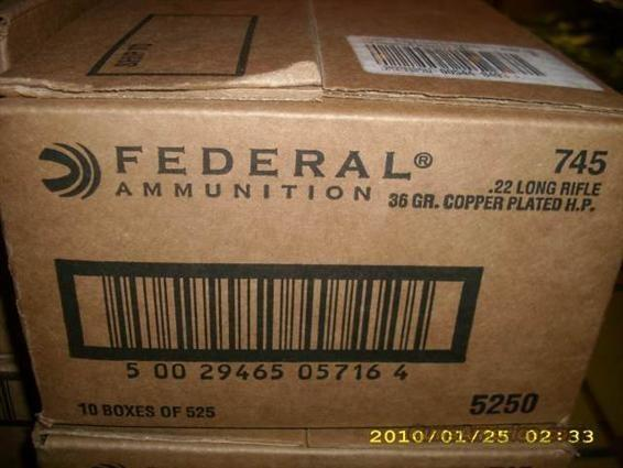 Federal 745 22 LR Ammo 5250 Round Case   Non-Guns > Ammunition