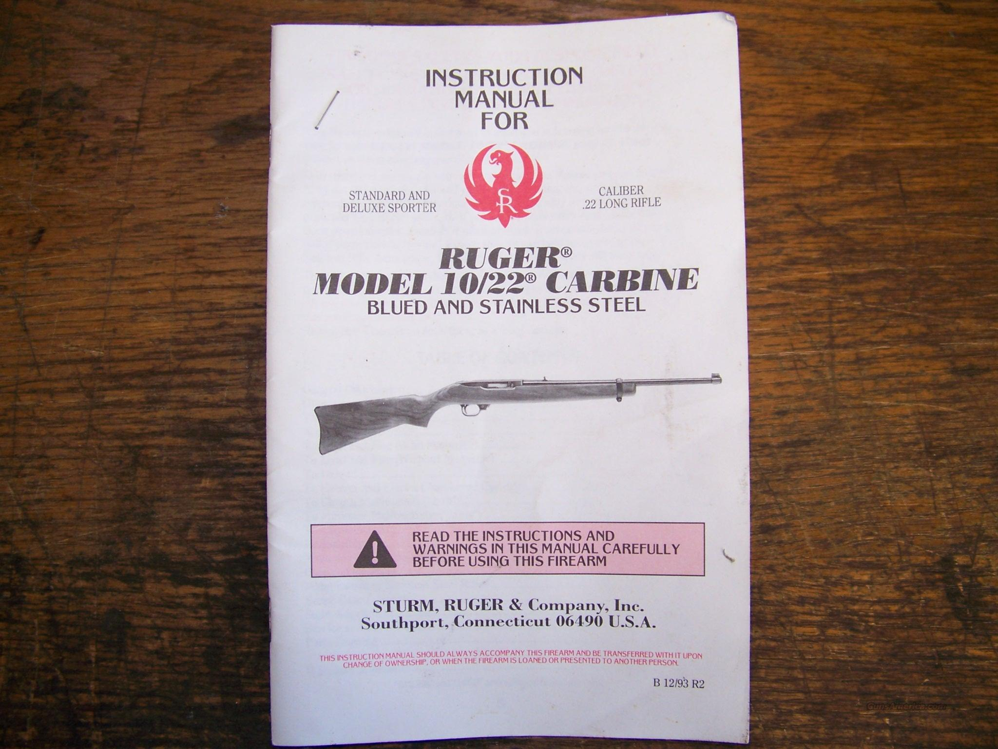 RUGER 10/22 Instruction Manual  Guns > Rifles > Ruger Rifles > 10-22