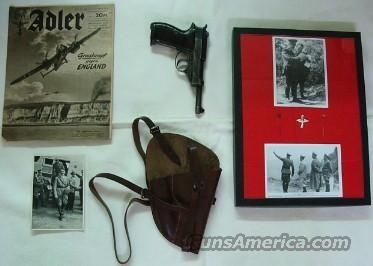 WWII Walther P 38 w/holster book and pins  Guns > Pistols > Walther Pistols > Pre-1945 > P-38