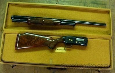 Cased Winchester Model 12 Pigeon Grade 5 w/Gold Inlays  Guns > Shotguns > Winchester Shotguns - Modern > Pump Action > Trap/Skeet