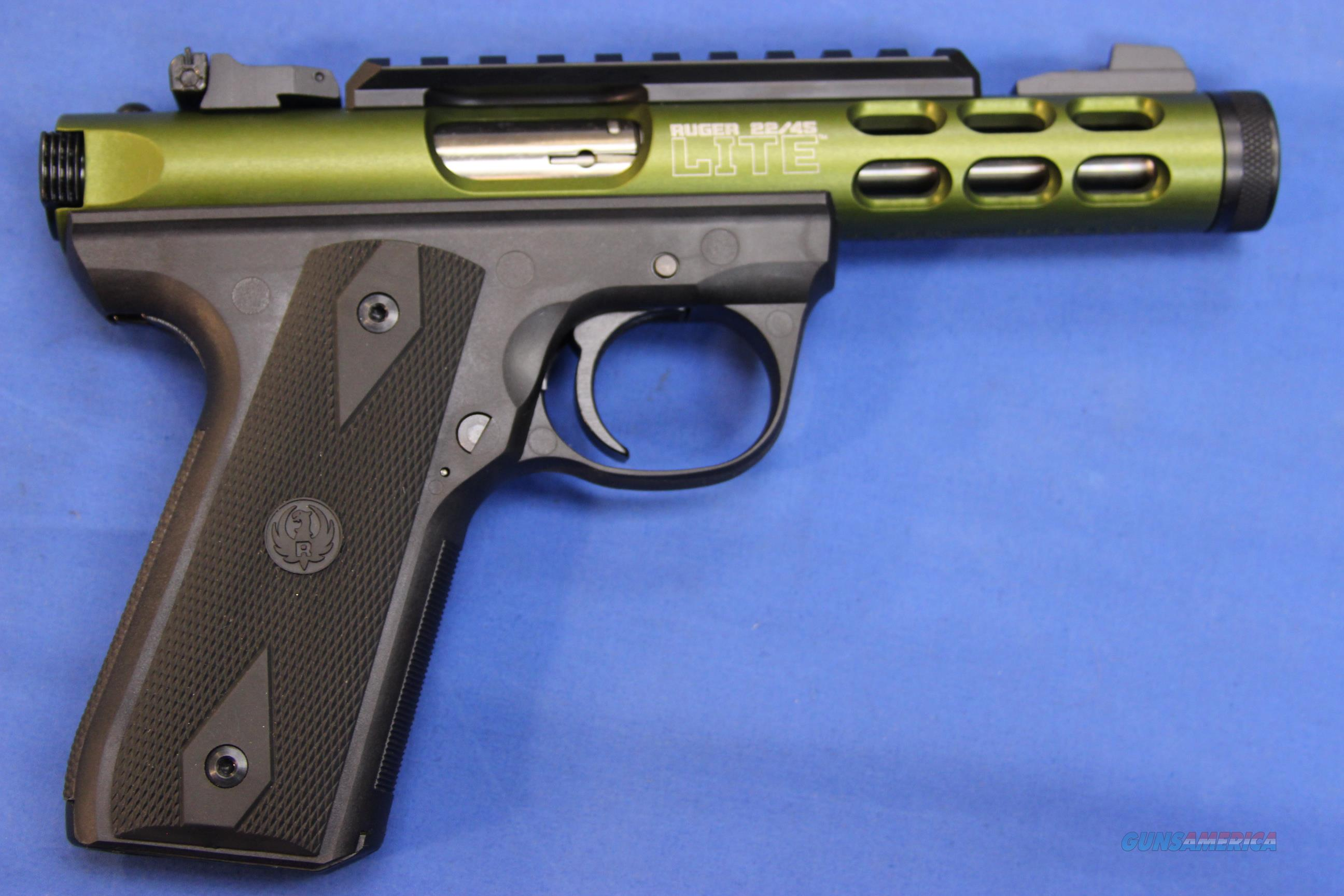 RUGER 22/45 LITE GREEN ANODIZED THREADED .22 LR - NEW!  Guns > Pistols > Ruger Semi-Auto Pistols > 22/45