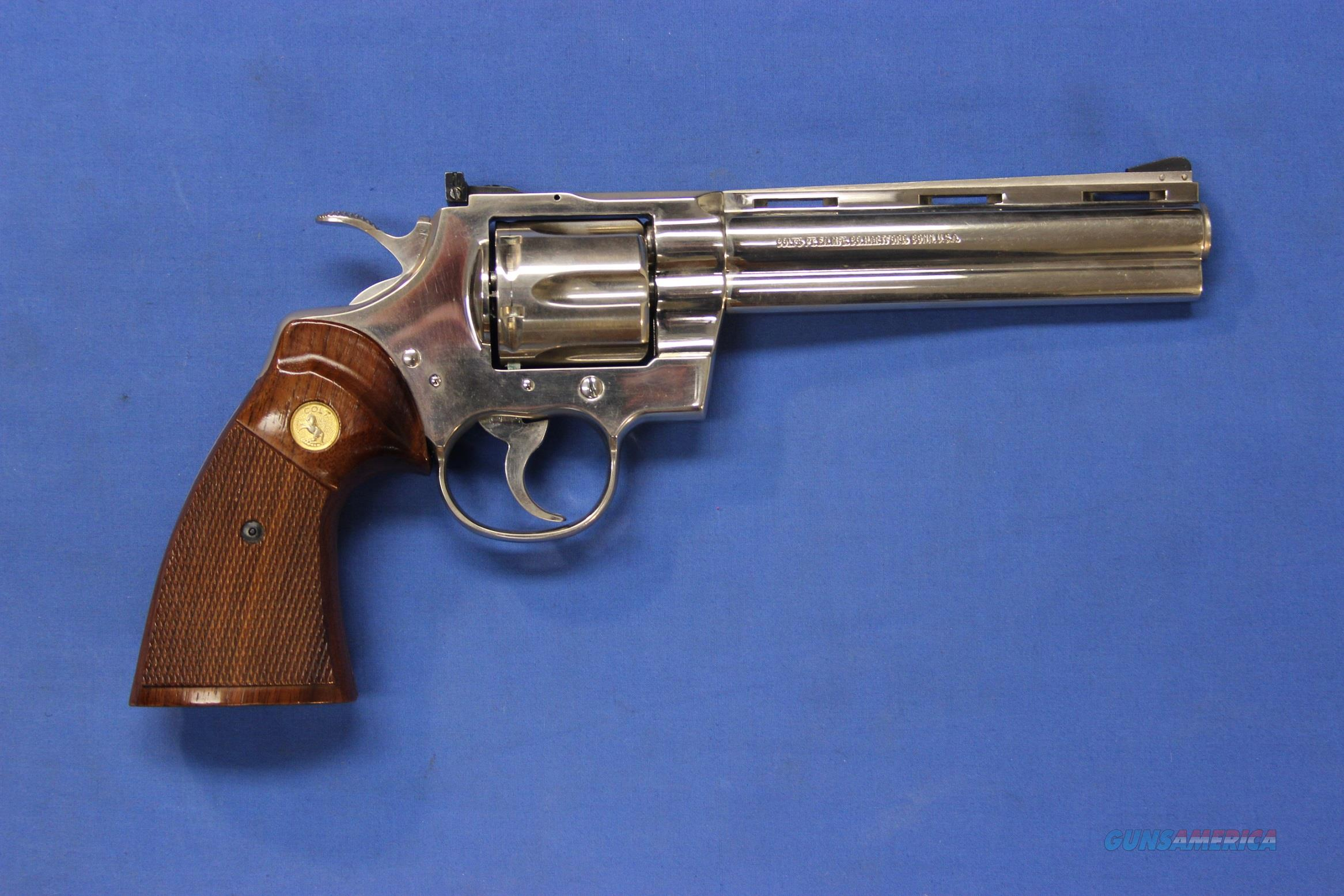 "COLT PYTHON NICKEL .357 MAGNUM 6"" - 1981 Mfg.  Guns > Pistols > Colt Double Action Revolvers- Modern"