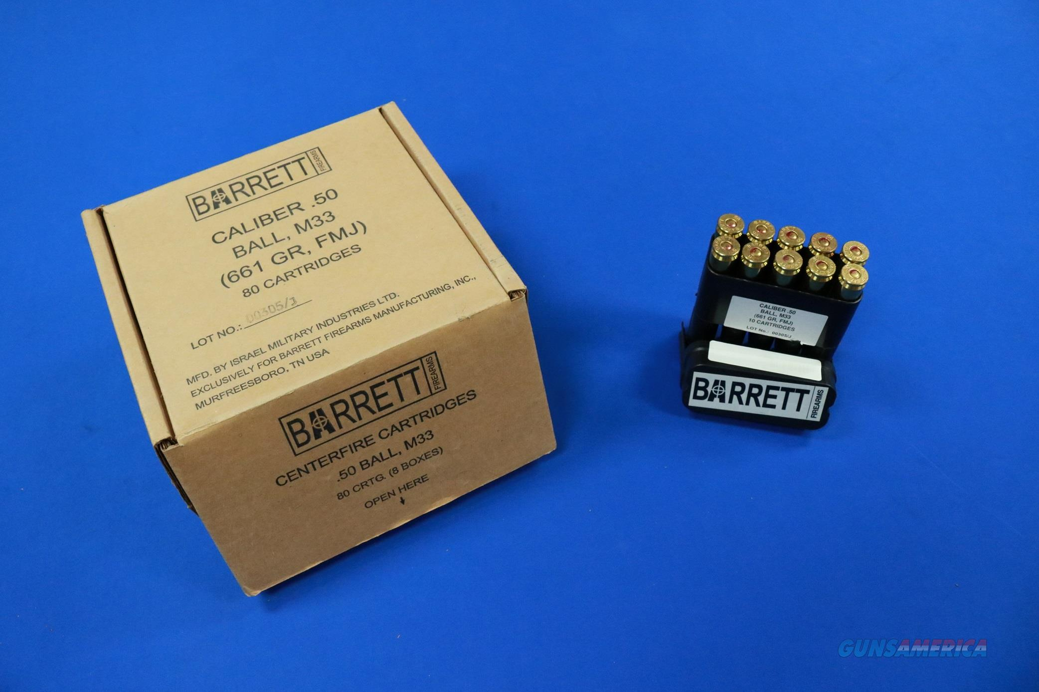 BARRETT .50 BMG BALL M33 661 gr. FMJ  100 ROUND CASE  Non-Guns > Ammunition