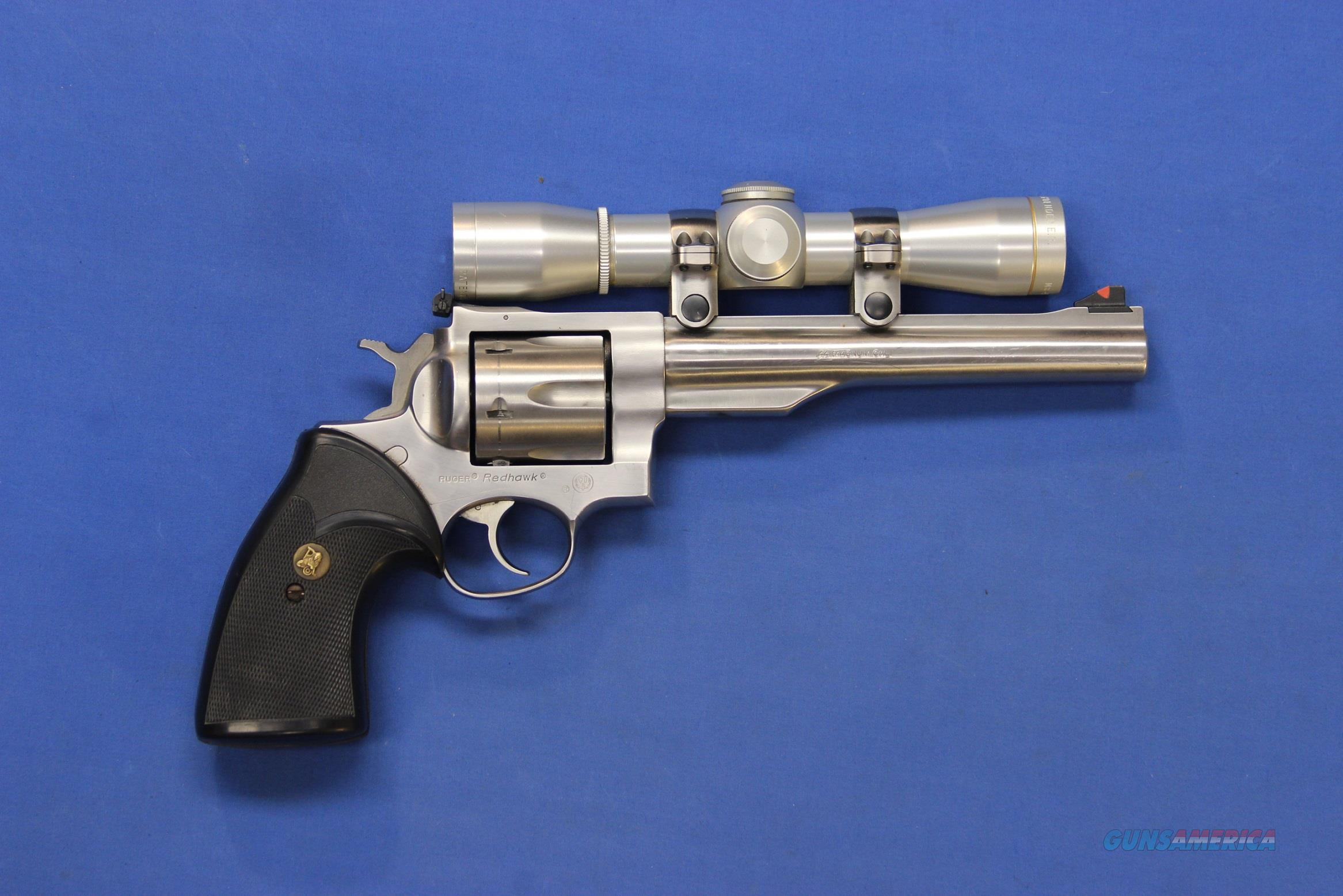 RUGER REDHAWK STAINLESS .44 MAG w/LEUPOLD SCOPE  Guns > Pistols > Ruger Double Action Revolver > Redhawk Type