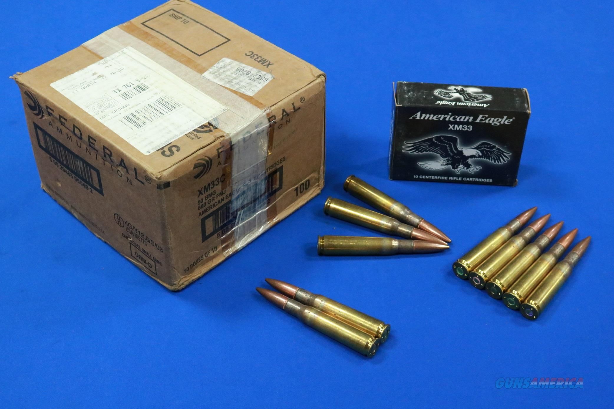 FEDERAL .50 BMG BALL XM33C 660 gr FMJ  100 ROUND CASE  Non-Guns > Ammunition