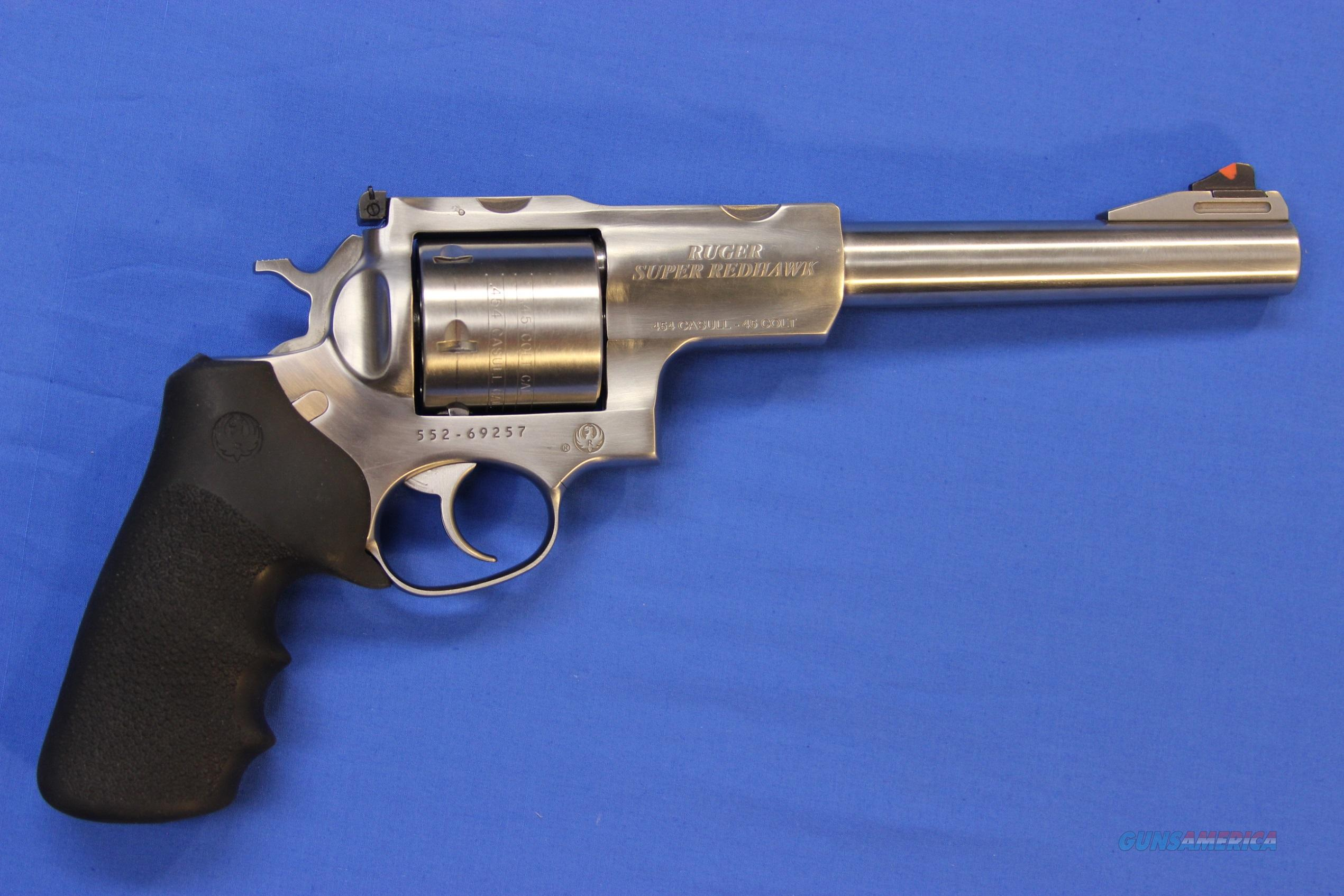 "RUGER SUPER REDHAWK STAINLESS .454 CASULL 7.5"" w/BOX & RINGS  Guns > Pistols > Ruger Double Action Revolver > Redhawk Type"