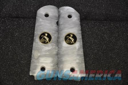 1911 Colt grips 02 Faux White Pearl with Black and Gold  coin medallions  Non-Guns > Gun Parts > Grips > 1911