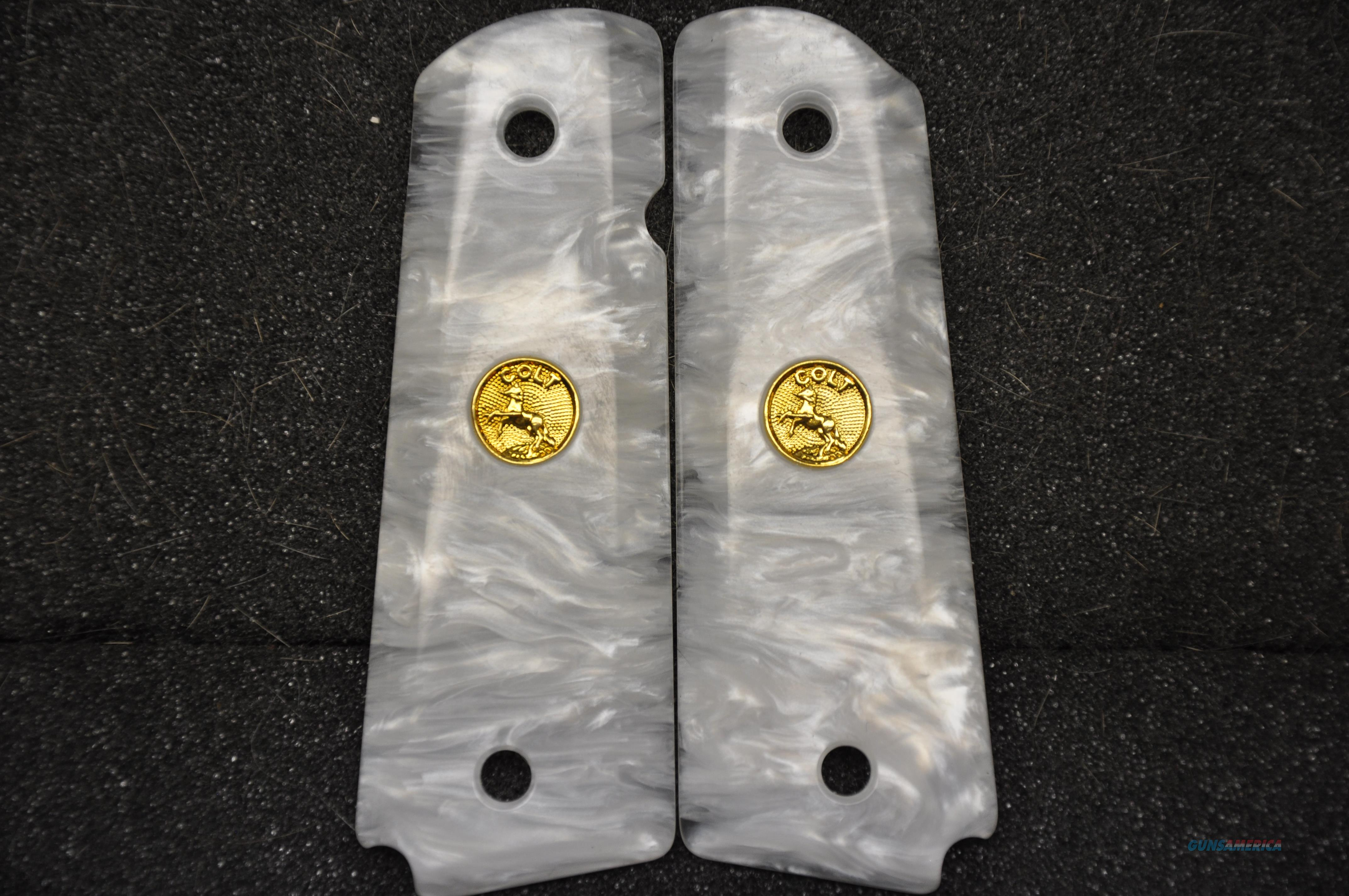 1911 Colt grips 12 Faux White Pearl with Gold medallions  Guns > Pistols > Colt Automatic Pistols (1911 & Var)