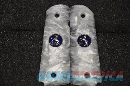 1911 Colt grips 01 Faux White Pearl with Blue and Nickel coin medallions   Guns > Pistols > Colt Automatic Pistols (1911 & Var)