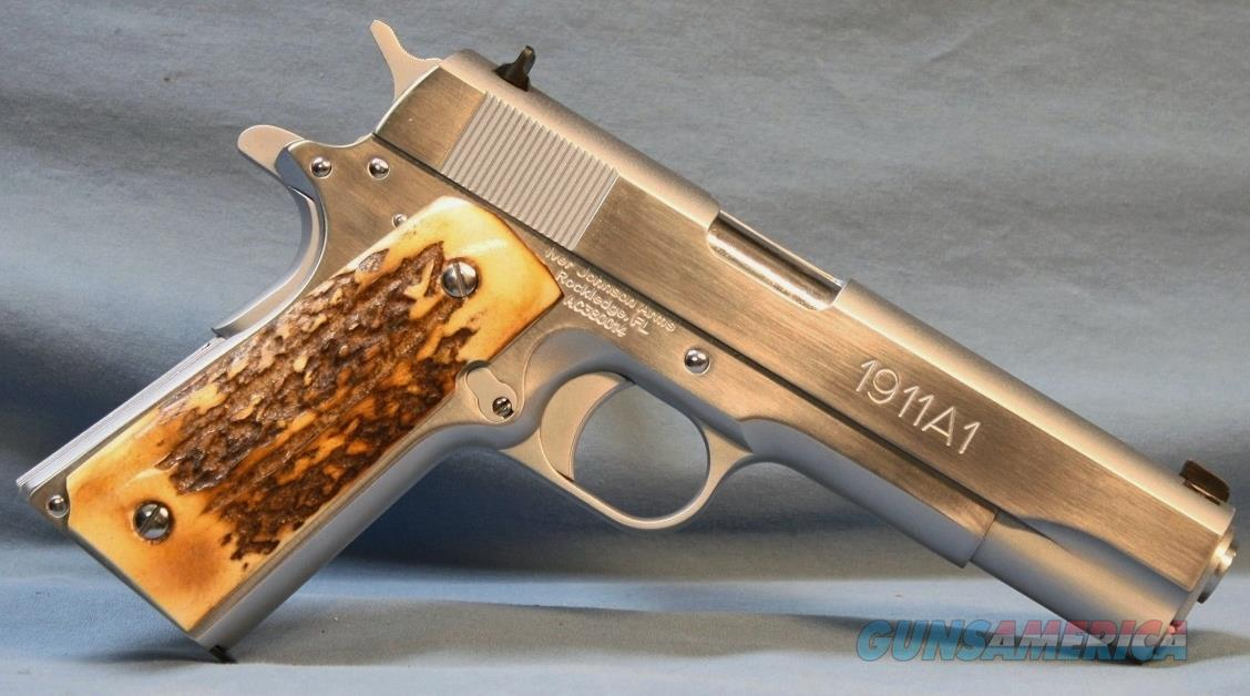 Iver Johnson 1911A1 Semi-Automatic Pistol, 38 Super with Stag grip panels  Guns > Pistols > Iver Johnson Pistols