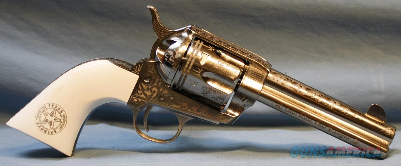 Cimarron Engraved Texas Ranger Frontier Model Single Action Revolver, made by Pietta, 45 Colt   Guns > Pistols > Cimmaron Pistols