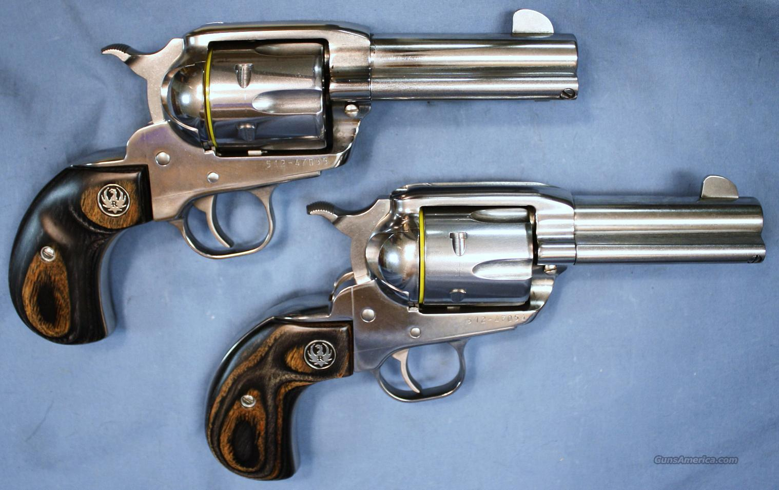 Ruger New Vaquero Consecutive Pair Birds Head Stainless Steel Single Action Revolvers .45 Colt  Guns > Pistols > Ruger Single Action Revolvers > Cowboy Action
