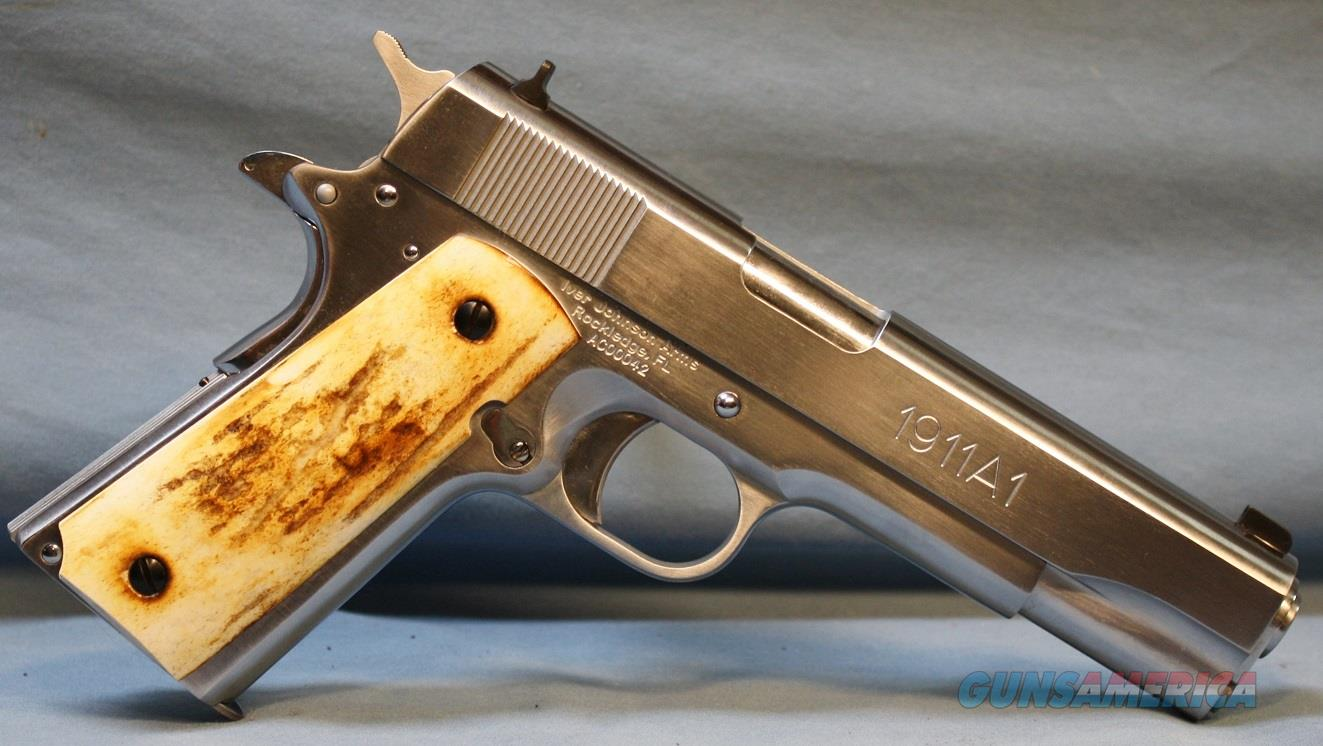 Iver Johnson 1911A1 Semi-Automatic Pistol, 45 ACP with custom stag grip panels  Guns > Pistols > Iver Johnson Pistols