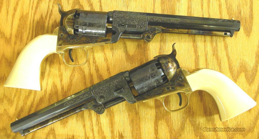 Cimarron 1851 Navy Matched Pair Laser-Engraved Single Action Percussion Revolvers .36 Caliber  Guns > Pistols > Cimmaron Pistols