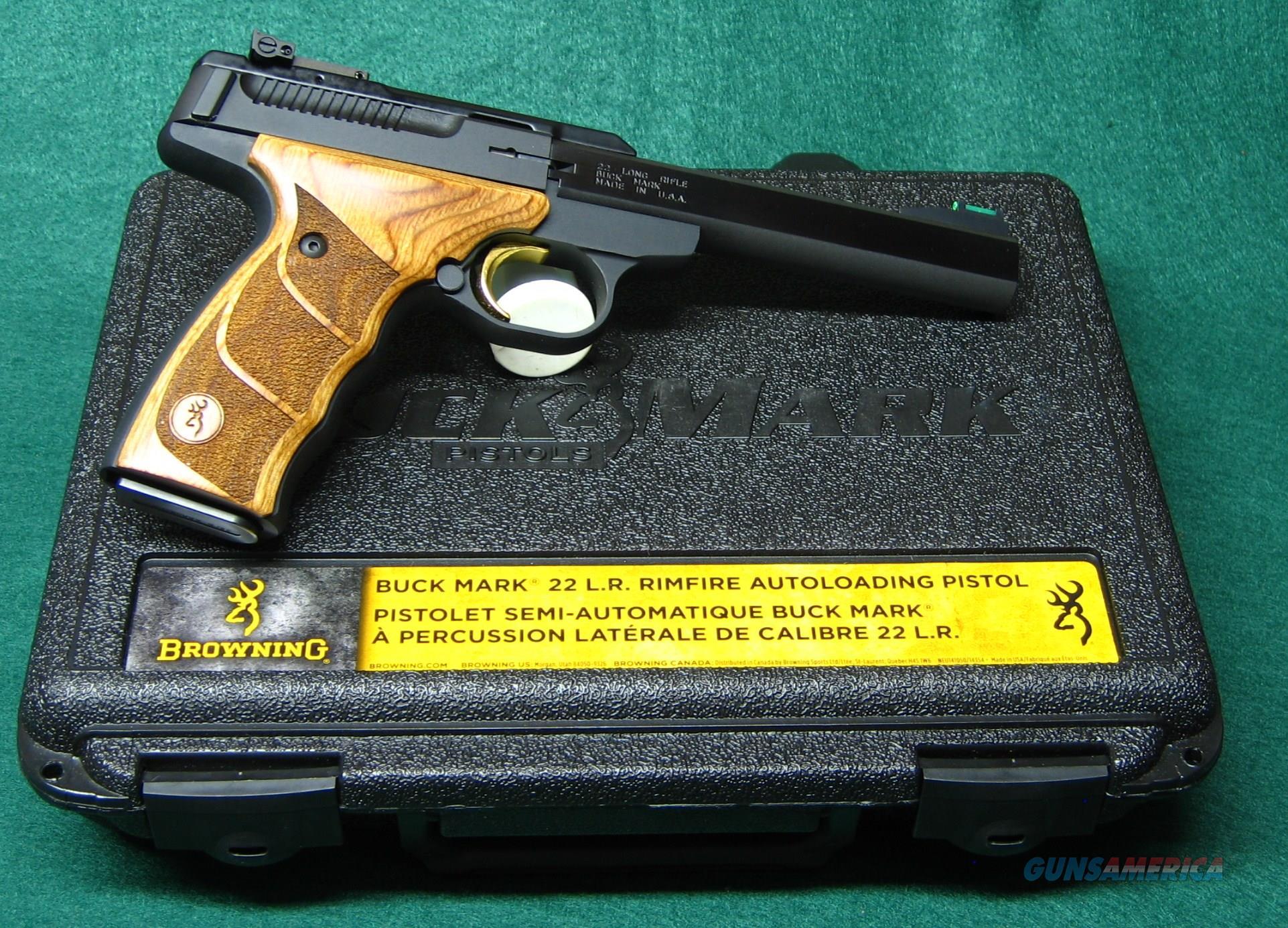 """BROWNING BUCK MARK 5 1/2"""" SLAB SIDE .22 LR RIMFIRE AUTOLOADING PISTOL+ 2 NEW MAGS  Guns > Pistols > Browning Pistols > Buckmark"""